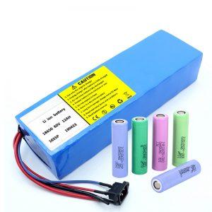 Батерија со литиум 18650 60V 12AH, батерија за скутер за полнење на литиум јон
