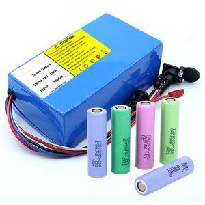 Литиумска батерија 18650 48V 12AH 48V 500W Електрична батерија за велосипеди со BMS